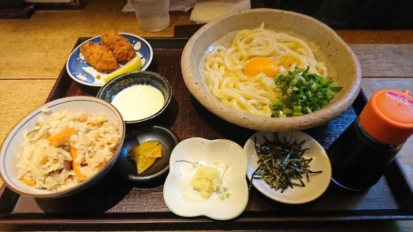 選べる定食(釜玉+カキフライ+かやくご飯)