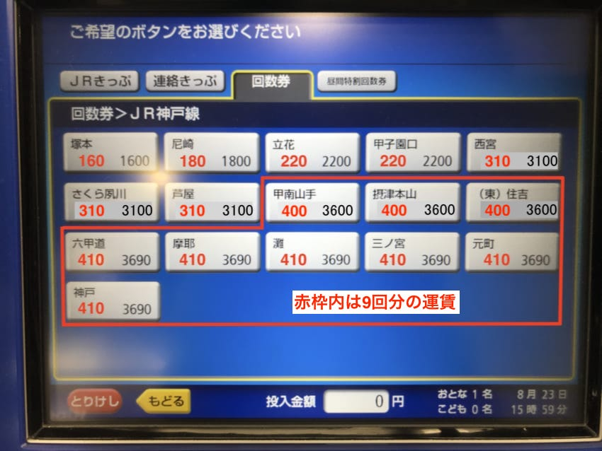 JR神戸線各駅の回数券運賃
