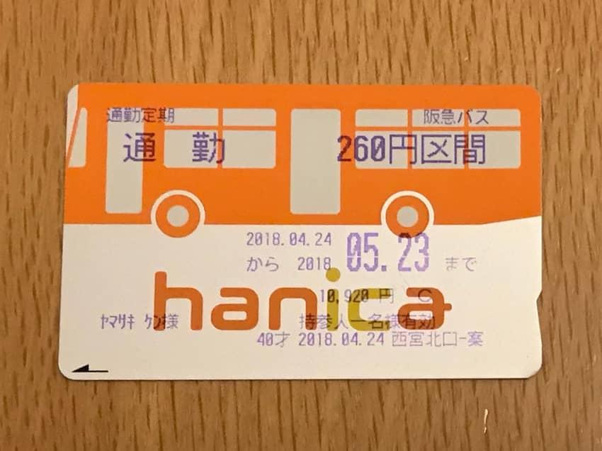 hanica通勤定期券