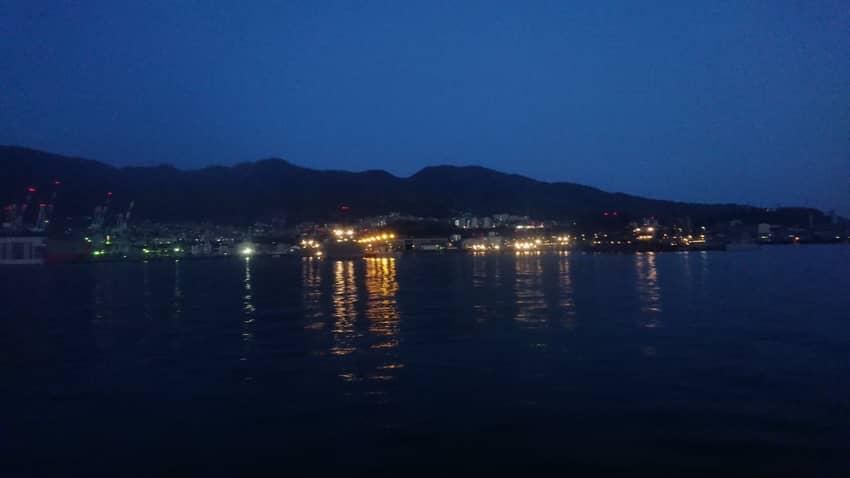 スーパージェットからの呉の夜景